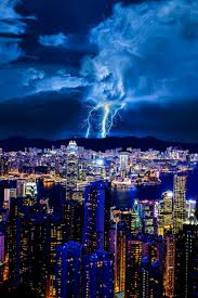 Lightning Over Hong Kong China Lighting StormCity