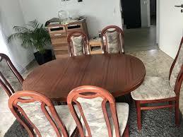 mahagoni tischgarnitur esszimmer tisch 6x stühle in