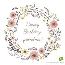 Happy Birthday Grandma image with hand drawn flowers