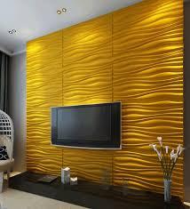 wandgestaltung im wohnzimmer 3d wellenmuster gelb design