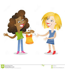 Girlfriends Shopping Clothes Stock Vector