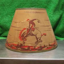Rawhide Lamp Shades Ebay by Vintage 1950s Cowboy Paper Lamp Shade Boys Room Also Lamp Co