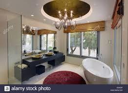 ovale freistehende badewanne und runden teppich im modernen