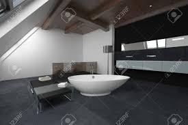oval geformte badewanne in der mitte badezimmer mit dunklen teppichboden sitzbank und schränke 3d rendering