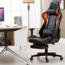 High Back Recliner Racing Gaming Chair With Lumbar Support And Footrest