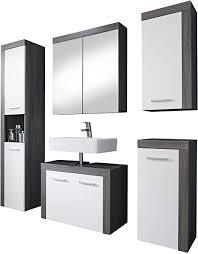 trendteam badezimmer 5 teilige set kombination miami 175 x 184 x 34 cm in korpus rauchsilber dekor front weiß mit viel stauraum