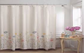 Pink Sheer Curtains Target by White Fabric Shower Curtains Steel Ring Hooks Square Metal Rod