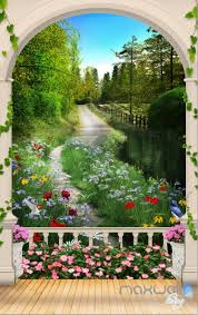 Wall Mural Decals Nature by 3d Arch Flower Tree Lane Corridor Entrance Wall Mural Decals Art