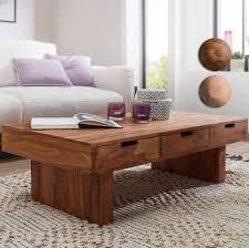 finebuy couchtisch massivholz design wohnzimmer tisch 110 x 60 cm mit 6 schubladen landhaus stil holztisch natur