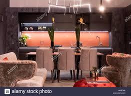 eine moderne exklusive esszimmer mit tisch stühlen küche