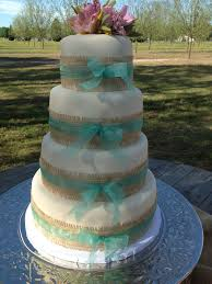 Burlap And Ribbon Wedding Cake