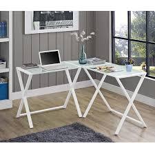 walker edison x frame white glass and steel corner computer desk