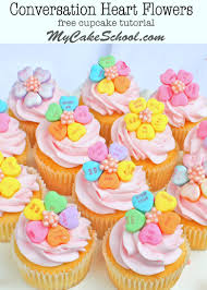 Adorable Conversation Heart Flower Cupcake Toppers Free Tutorial By My Cake School