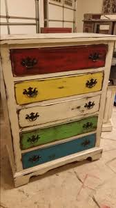 Multi Colored Distressed Dresser