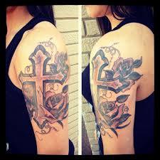 Sleeve Cross Tattoo Ideas With Flowers