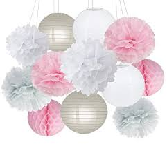 Party Decorations Furuix Pink Grey White Big Tissue Paper Pom Honeycomb Ball For Bridal Shower