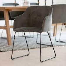 esszimmerstuhl mit armlehnen dunkelgrau schwarz stoff 2er