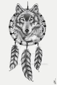 Dreamcatcher With Fox And Wolf Head Tattoo Design