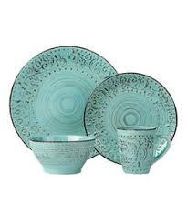 Loving This Blue Green Distressed Stoneware Dinnerware Set On