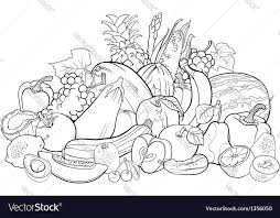 Fruits And Vegetables For Coloring Book Vector Image