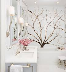 Cherry Blossom Curtain Panels by Austin Cherry Blossom Wallpaper Bathroom Contemporary With Pendant