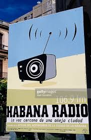 modern deco style sign for habana radio cuba stock photo