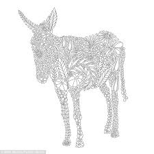 An Image Of A Donkey From The Colouring Book Is Creatively Constructed Flora And Fauna