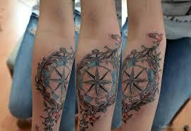 Compass Tattoo Design On Elbow