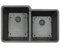 Install Kindred Sink Strainer by 801 Black Double Offset Bowl Trugranite Sink