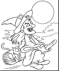 Scary Witch Coloring Pages Adult Printable Super Halloween Cat Full Size