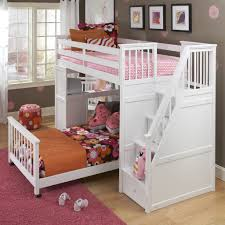Sale Fascinating Kid White Bunk Bed Staircase Covering Floral Bedspread With Cool Green Rug Area Also Light Laminate Wood Flooring And Cute Kids Bedroom