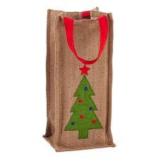 Christmas Tree Herringbone Cotton Bottle Tote