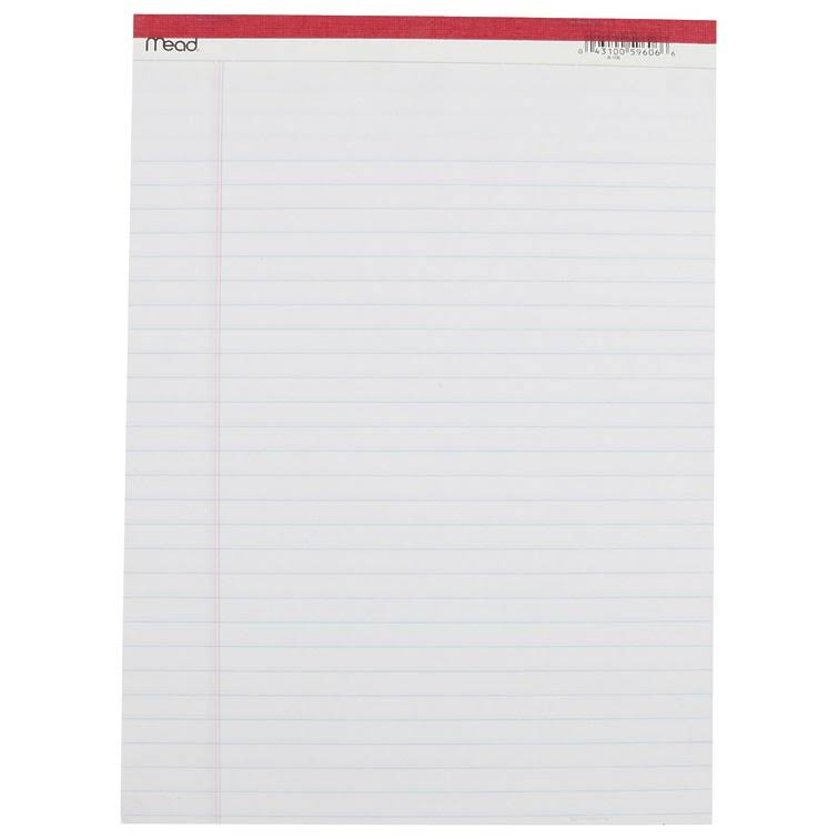 Mead Management Series Legal Pad - White Paper, Ruled, 50 Sheets