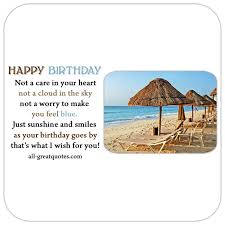 Happy Birthday Poem Card Beach Scene Nice Verse