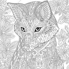 Fox Adult Coloring Page Zentangle Doodle By ColoringPageExpress