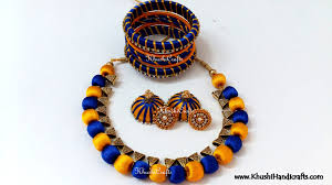 Silk Beads And Bails Necklace Set With Bangles
