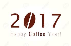 2017 Happy New Year Christmas Card With Coffee Bean For Cafes And Companies Stock