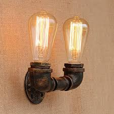 fuloon vintage metal wall l 2 iron water pipe light wall