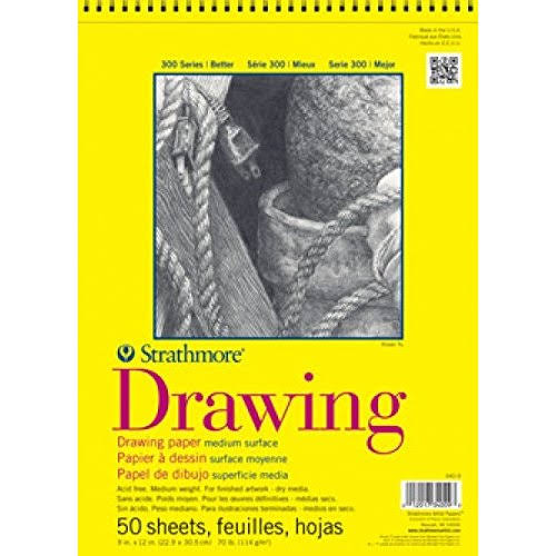 "Strathmore 300 Spiral Drawing Pad - 9""x 12"", 50 Sheets"