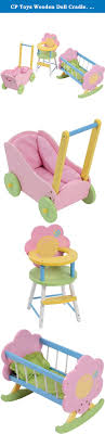 CP Toys Wooden Doll Cradle, High Chair & Carriage Fits 12