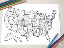 Map Usa United States America Coloring Book Kids Adults Instant Download Travel Art Home Decor
