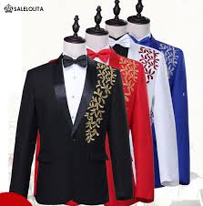 Blue Black Red White Luxurious Gold Embroidery Bridegroom Groomsmen Suits Stage Performance Jaceket