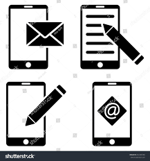Mobile Mail Editing vector icon clip art Collection style is black flat symbols on a