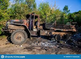 100 Burnt Truck Destroyed Military War Actions Aftermath Ukraine And Donbass