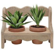 Rustic Bench Design Garden Terracotta Succulent Plant Pots With Decorative Flower Pot Stand