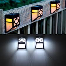 solar powered wall mount 2 led lantern light outdoor landscape