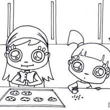 Girls Making Cookies Coloring Page