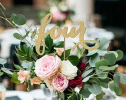 Antique Gold Table Numbers Wedding Number