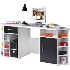 bureau angle avec rangement bureau d angle blanc noir dim 181 x 67 x 78 cm achat vente