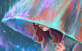 I Miss You Sad Girl In Rain With Umbrella Painting Artwork